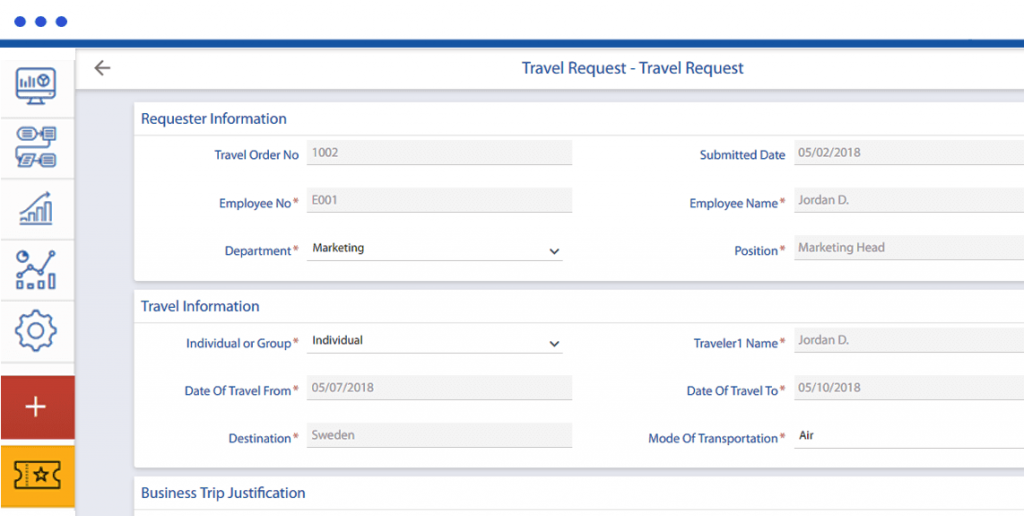 travel request approval workflow form