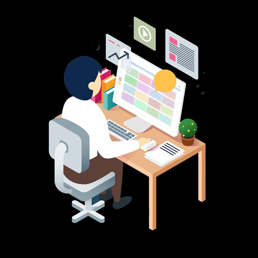man works in cflow on computer desk