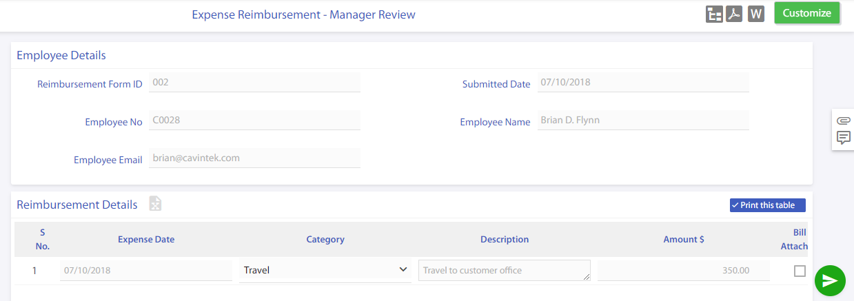 expense reimbursement submission for manager approval