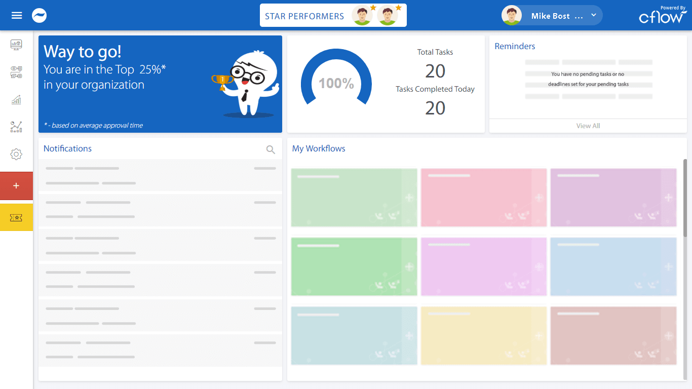 workflow automation software dashboard